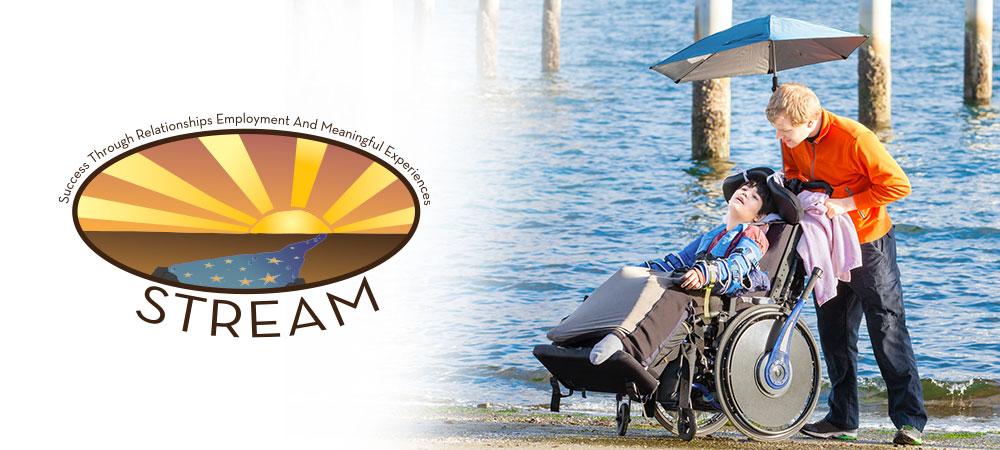 wheelchair bound individual taken around beach